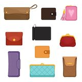 Flat vectoe set of stylish wallets. Pocket-sized holder for money and plastic cards. Small women bag to carry everyday. Collection of stylish wallets. Pocket royalty free illustration