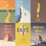 Flat vector advertising posters. Climbing, Hiking. Royalty Free Stock Photos