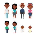 Flat Vector African American Family Members. Parents, Grandparents, Children and Baby Royalty Free Stock Photos