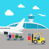 Flat vector airport: plane, luggage, loading, baggage Royalty Free Stock Image
