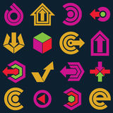 Flat vector app buttons. Collection of arrows, direction icons a. Nd different business corporate graphic symbols Stock Photography