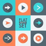 Flat Vector Arrow Icons Set. You can use this icons for your web and mobile graphical user interface, multimedia content, advertising, etc Stock Images