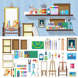 Flat vector art workshop objects: artist workplace, paints brush Royalty Free Stock Image