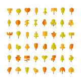 Flat vector autumn trees bundle in flat style Royalty Free Stock Image