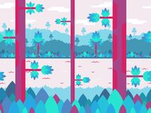 Flat vector background in blue and pink colors with forest. River and hills. Seamless when docking horizontally. For games and mobile applications Royalty Free Stock Image