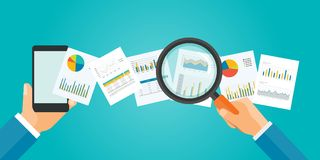 Flat vector banner for analytic finance graph report and business investment. Planning concept Stock Photo