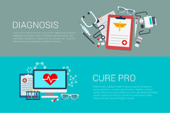 Flat vector banner medicine medical lab diagnosis cure pro. Flat style set of medicine medical lab diagnosis cure pro web infographics banners. Prescription Stock Images