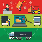 Flat vector banners set of logistic process. Logistic Infographics banners set for Web or Mobile aplication. Process of Delivery abstract goods. Flat Vector vector illustration