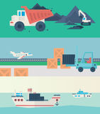 Flat vector banners set of logistic process. Logistic Infographics banners set for Web or Mobile application. Process of Delivery abstract goods. Flat Vector royalty free illustration