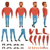 Flat vector of bearded man constructor for animation. Bearded man constructor for animation. Creation set. Full length back, front and side view. Body parts Stock Images