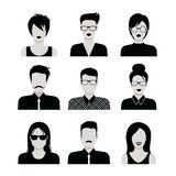Flat vector black and white people haircut vector avatar icon. Flat style black and white people haircut vector icon set. Young male female hipster programmer royalty free illustration