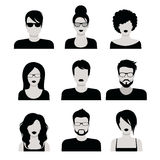 Flat vector black and white people haircut vector avatar icon. Flat style black and white people haircut vector icon set. Young male female hipster programmer stock illustration