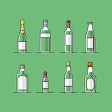Flat vector bottle icons set Stock Images