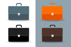 Flat vector briefcases. 4 colors icons set Stock Photos