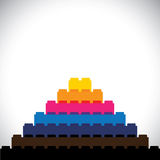 Flat vector of building blocks arranged as triangular steps. Vector icon. this vector graphic can represent logo, leisure activity, construction concepts Stock Photography