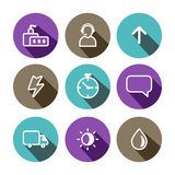 Flat vector business and construction multicolored icons set Royalty Free Stock Image