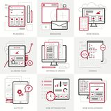 Flat vector business icons set. Corporate style. Outlined IT icons for web site. Royalty Free Stock Photos