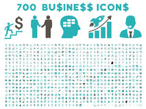 700 Flat Vector Business Icons. 700 Business vector icons. Style is bicolor grey and cyan flat symbols on a white background Royalty Free Stock Images