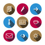 Flat vector business multicolored icons set Stock Photos