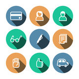 Flat vector business multicolored icons set Royalty Free Stock Photo