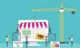 Flat vector business online shop .Create Online Store.people business. Business creat online shopping concept Royalty Free Stock Photography