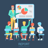 Flat vector business report, meeting and presentation Royalty Free Stock Photos