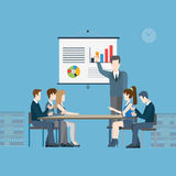 Flat vector business report, meeting and presentation Royalty Free Stock Photo