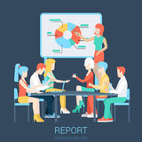 Flat vector business report, presentation - boss and team Stock Photo