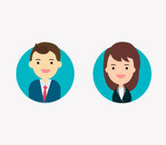 Flat vector businessman and businesswoman characters. Royalty Free Stock Photos