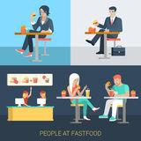 Flat vector businessman people eat in fastfood cafe Royalty Free Stock Photo