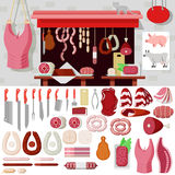 Flat vector butcher shop, meat products, butchery knife, snag Stock Photos