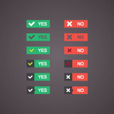 Flat vector buttons yes and no in different styles Stock Photo