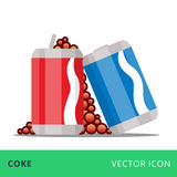 Flat vector cans coke red and blue Royalty Free Stock Images