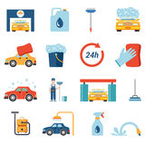 Flat vector car wash cleaning service: wax foam cleaner worker. Flat style car wash cleaning service icon set. Wax foam detergent shower water shampoo vacuum Royalty Free Stock Photos