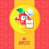 Flat vector card with chef cartoon apple and kitchenware Stock Photos