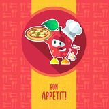 Flat vector card with chef cartoon apple and kitchenware Stock Photo