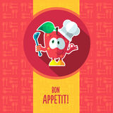 Flat vector card with chef cartoon apple and kitchenware Royalty Free Stock Image