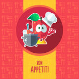 Flat vector card with chef cartoon apple and kitchenware Royalty Free Stock Images