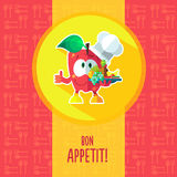 Flat vector card with chef cartoon apple and kitchenware Stock Image