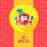 Flat vector card with chef cartoon apple and kitchenware Stock Images