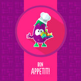 Flat vector card with chef cartoon eggplant and kitchenware Stock Image