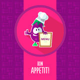 Flat vector card with chef cartoon eggplant and kitchenware Stock Photography
