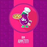 Flat vector card with chef cartoon eggplant and kitchenware Stock Photos