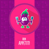 Flat vector card with chef cartoon eggplant and kitchenware Royalty Free Stock Photos