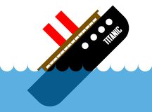 Titanic sinking in deep, blue water. Flat vector cartoon illustration of a big cruise ship Titanic and disaster it met when sinking vector illustration