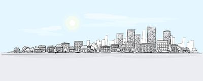 Urban Landscape Hand Drawing with City Skyline Background royalty free illustration