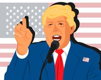 Cartoon flat portrait of Donuld Trump stock illustration