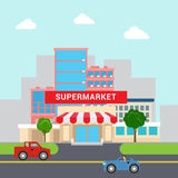 Flat vector cartoon supermarket mall building transport street Stock Photography