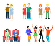 Flat vector casual people lifestyle: couple, party, cinema Stock Photos