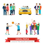 Flat vector casual people lifestyle: couple, party, friends Royalty Free Stock Photo